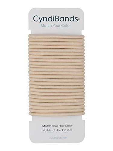 Cyndibands Beige Blonde No-Metal 4mm, 1.75 Inch Elastic Hair Ties Color Match Ponytail Holders - 24 Count