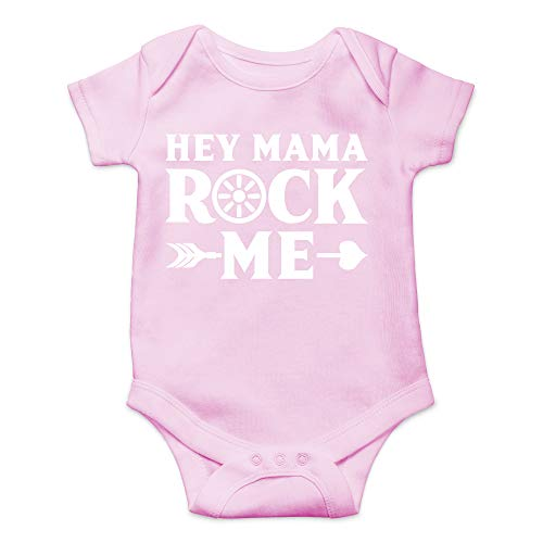 Hey Mama Rock Me - Funny Country Songs Outfits - Cute Infant One-Piece Baby Bodysuit (6 Months, Pink)