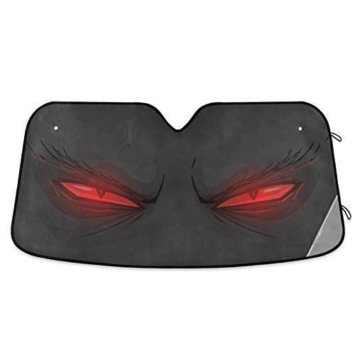 Evil Red Eyes Car Windshield Sunshades Demonic Angry Eyes Sun Shade Reflective UV Rays Protector Keep Cool Visor Cover Foldable Retractable for Car Truck SUV