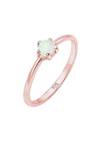 Elli Ring Damen Basic Bandring Synthetischer Opal Geo in 925 Sterling Silber