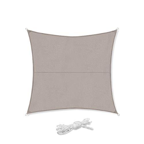 Sekey Sonnensegel Sonnenschutz Quadratisches Polyester Windschutz Wetterschutz Wasserabweisend Imprägniert 95% UV Schutz, Überlegene Reißfestigkeit für Outdoor mit Seilen, Taupe 3.6×3.6m