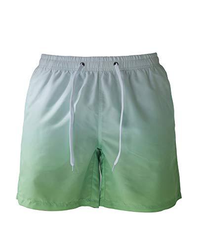 YENYEE Herren Badehose, schnell trocknend, Strandshorts mit Netzfutter, Farbverlauf Blau - Grün - Large