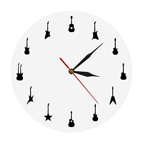 Wangy Gitaar-wandklok, verschillende soorten gitaars, wanddecoratie, muziekband, kamer, hangen, wandkunst, klok rok n roll gitarrist klok cadeau