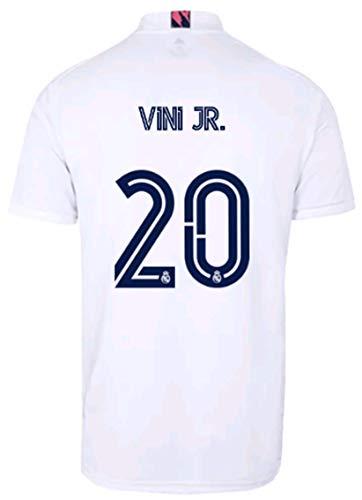 2020-2021 Season Kids/Youths Home Soccer Jersey/Short/Socks Colour White (Real Madrid Vinícius JR #20(10-11years/size26))
