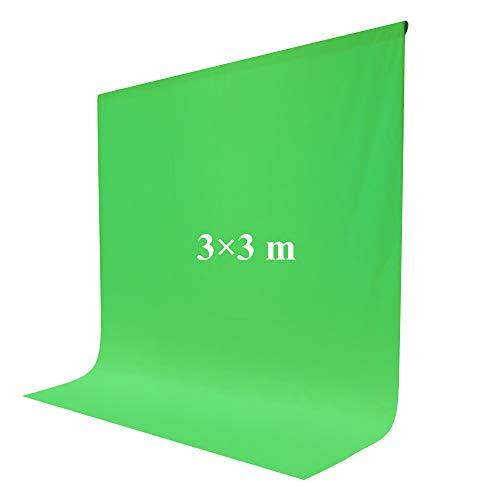 Croma Verde 3x3m Pantalla de Fondo Fotográfico con 2 Pinzas para Estudio Fotografía Video y Televisión