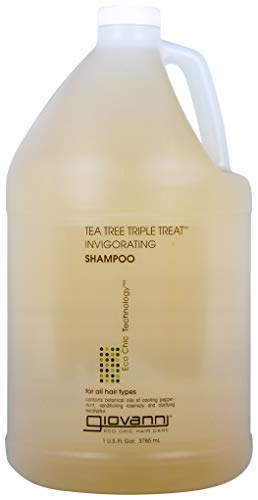 GIOVANNI Tea Tree Triple Treat Invigorating Shampoo, 128 oz. Cooling Peppermint, Conditioning Rosemary, Clarifying Eucalyptus, Helps Alleviate Dry Flaking Scalp, Sulfate Free, No Parabens (Pack of 1)