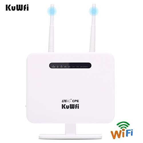 KuWFi 4G Router, 300Mbps Unlocked LTE sim Card Router CPE Wireless Internet Routers CAT4 4G LTE Modem Router with SIM Card Solt for USA/CA/MX with B2/B4/B5/B12/B17 Network Band for AT&T/T-Mobile