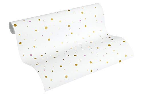 A.S. Création PVC-freie Vliestapete Little Stars Tapete gepunktet 10,05 m x 0,53 m metallic weiß Made in Germany 358392 35839-2