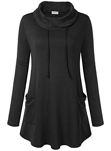 Bulotus Women's Long Sleeve Cowl Neck Casual Tunic Top with Pockets (Medium, Black)