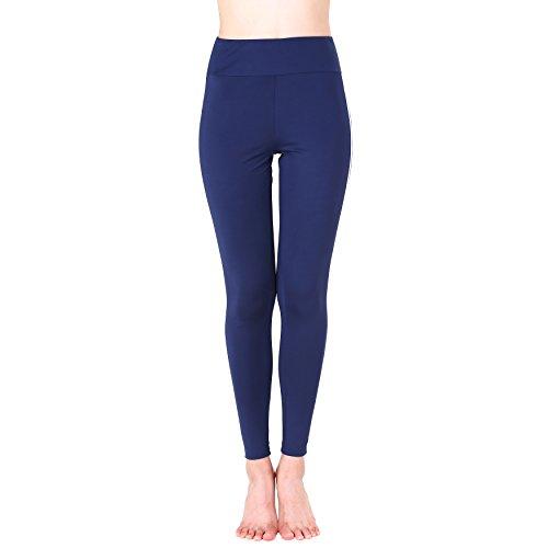 Amzbeauty mujer Polainas cintura alta negro blanco rojo azul verde Yoga pantalones Capri Medio Azul oscuro