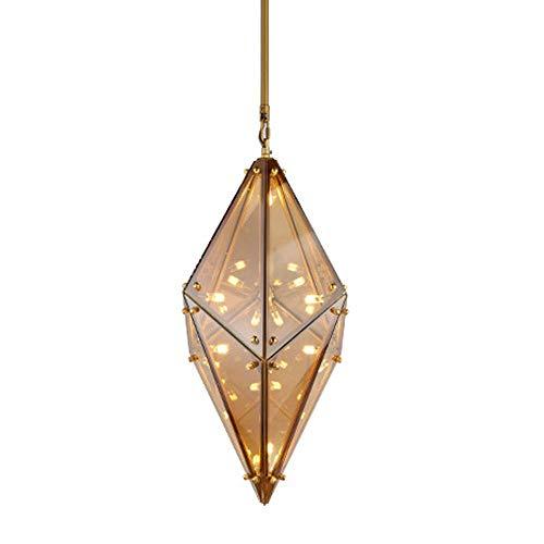 CSD Luz pendiente posmoderna nórdica creativo de la lámpara de cristal Pantalla de 8 luces G4 Base Isla de cocina Dormitorio Lámpara colgante ajustable en altura (Size : Gold)
