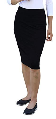 Kosher Casual Kids Big Girls' Knee Length Ultra Lightweight Stretchy Pencil Skirt Large Black