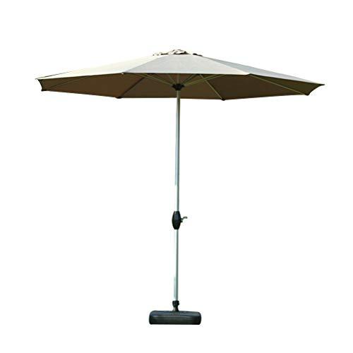 Vosarea Paraguas de Mesa de Paraguas de Patio de Mercado al Aire Libre de 2.7M con inclinación de botón y manivela Todo Hierro (sin Base de Color Caqui)