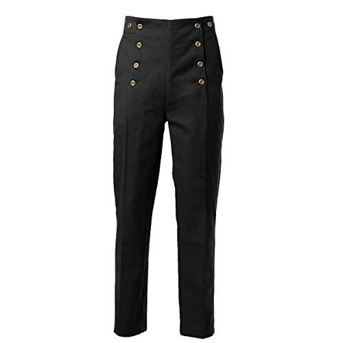 GRACEART Homme Steampunk Pantalon Gothique Punk Vampire Cosplay Pants (L, Noir)