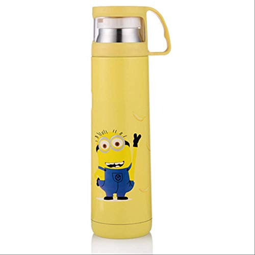 Thermoskanne GJDBBLY Kawaii Kitty/doraemon/minions Edelstahl Isoliert Thermos Flasche Kaffeebecher Sport Thermal Vaccum Wasserflasche 350ml gelb