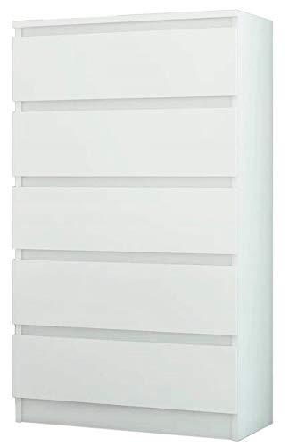 FRAMIRE R-5 Kommode in Weiß, Kommode mit 5 Schubladen, Schrank für Schlafzimmer, Wohnzimmer, Bad, 120 x 70 x 40 cm