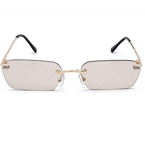 CCTYJ Gafas de Sol Gafas de Sol rectangulares sin Montura para Mujer Gafas de Sol cuadradas de Color Claro para Hombres Talla pequeña uv400-dorado con marrón