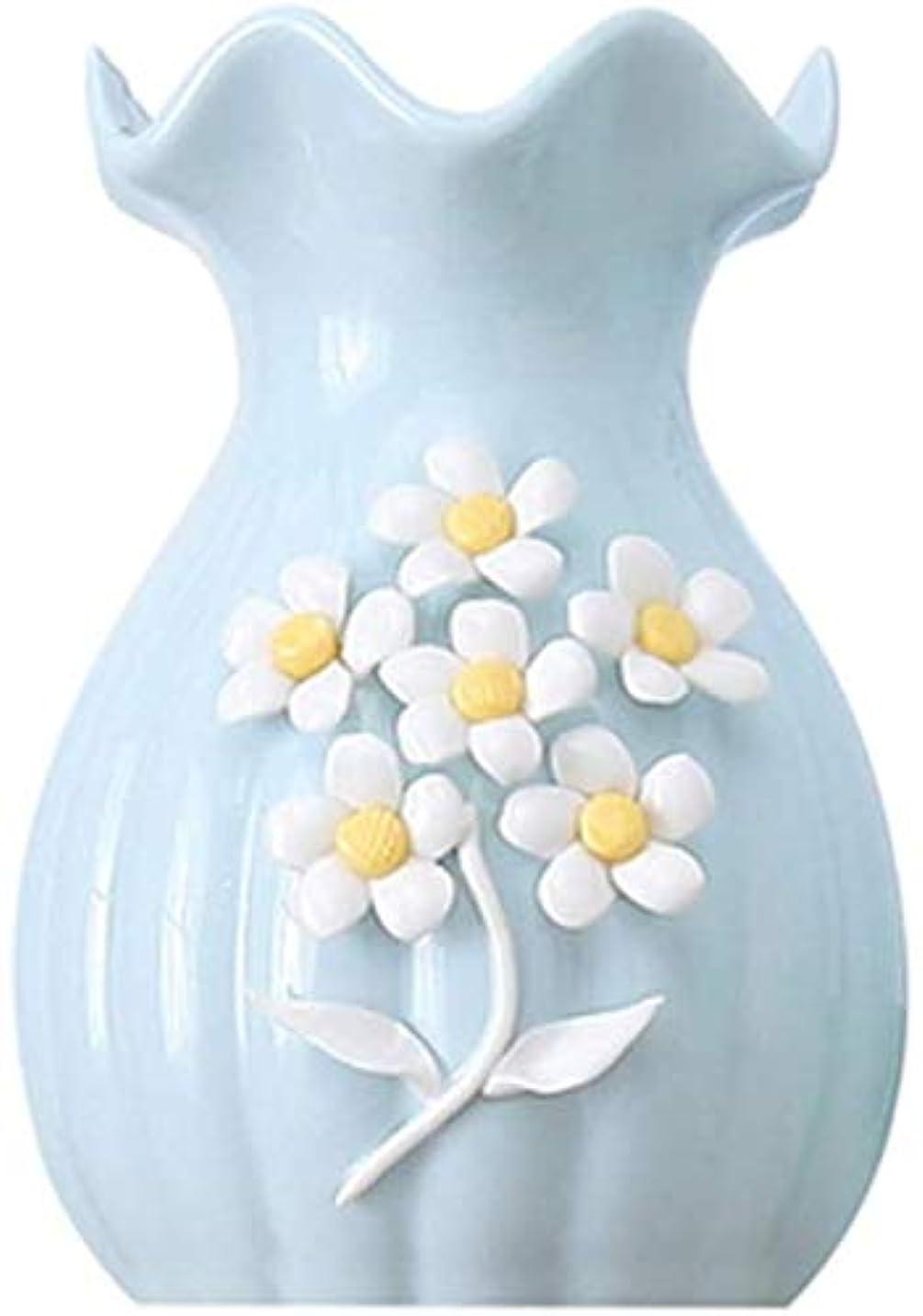 アルコールマトリックス大きい花器 セラミック花瓶シンプルな装飾花瓶小さな飾りクリエイティブホーム家具ブルー塗装工場水耕17 * 11センチメートル 花瓶