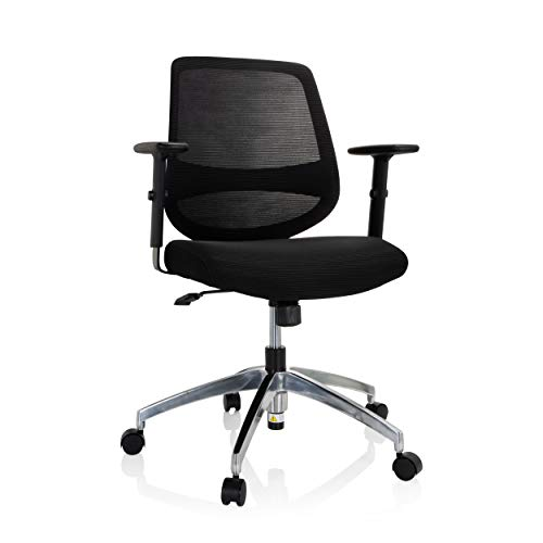 hjh OFFICE 740001 Bürostuhl Chester PRO Stoff/Netz Schwarz Home-Office Drehstuhl, Armlehnen höhenverstellbar, Wippfunktion