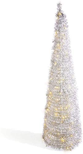 5.9ft. Silver Pull Up Christmas Tree with 150 LED Lights