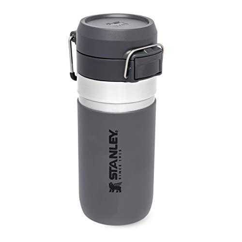 Stanley Quick Flip Water Bottle .47L / 16OZ Charcoal – Leakproof - Stainless Steel Water Bottle - Push Button Locking Lid - BPA FREE - Cup Holder Compatible - Dishwasher safe - Lifetime Warranty