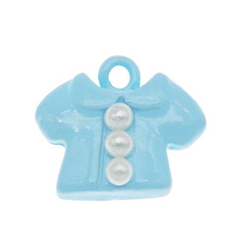 HGFJG 8 Piezas Esmalte Pequeños Encantos De Ropa De Bebé conAleación De Perlas Azul Rosa Abrigo Colgante PulseraHacer Accesorio