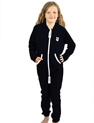 Gennadi Hoppe Kinder Jumpsuit Overall Jogger Trainingsanzug Mädchen Anzug Jungen Onesie,schwarz,12-13 Jahre