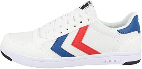 hummel Unisex-Adult Stadil Light Canvas Sneaker, White/Blue/RED,42 EU
