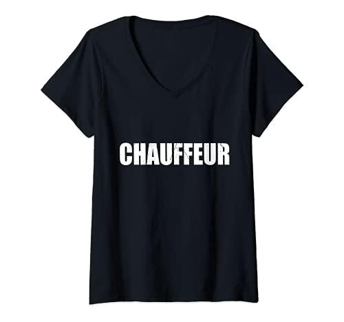 Mujer Chfer divertido lindo perezoso fcil simple DIY disfraz de Halloween Camiseta Cuello V