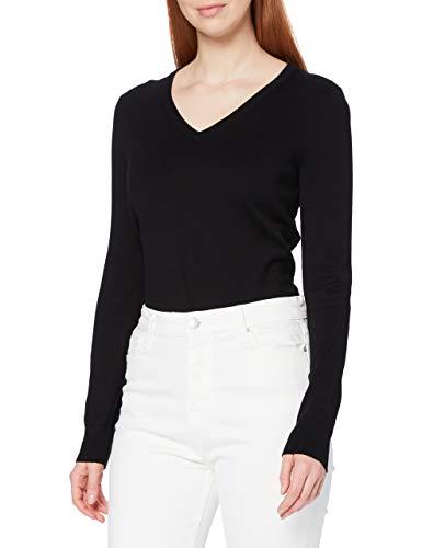 Amazon-Marke: MERAKI Baumwoll-Pullover Damen mit V-Ausschnitt, Schwarz (Black), 38, Label: M