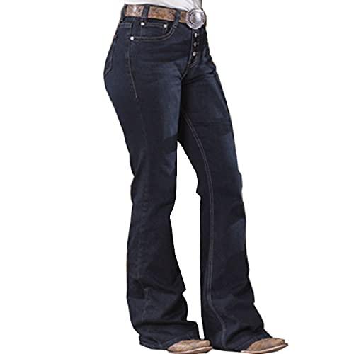 Fainash Damen Retro Gerade Jeans Mode Distressed Einfachheit Lässig Büroarbeit Normale Basic Jeanshose Mit Knöpfen L