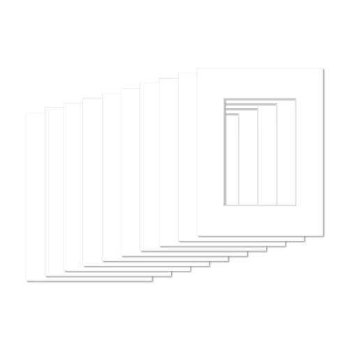 AlphaUVplus - 10 Stück - Passepartouts in Museumsqualität - Reinweiß - Außengröße: 40x50cm / für Foto: DIN A3