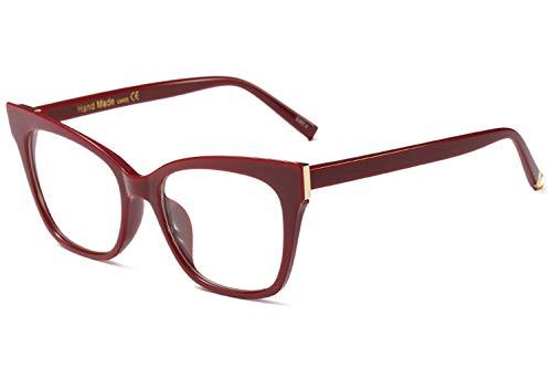 BOZEVON Männer Und Frauen Leichte Und Dünne Harzgläser, Brillen Retro Mode Dekoration Accessoires, Verhindern Uv-Kopfschmerzen,Rotwein