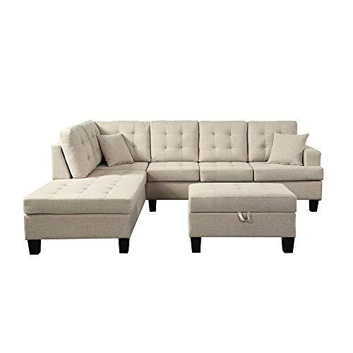 Home Deluxe - Ecksofa Florenz Rechts L-Form - Farbe Beige - 265,9 cm x 224,8 cm x 90,8 cm - inkl. Hocker | Sofagarnitur, Sofa, Couch, Wohnlandschaft