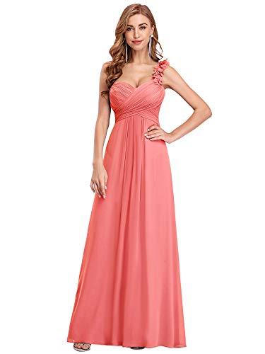 Ever-Pretty Vestito da Cerimonia Elegante Una Spalla Linea ad A Chiffon Lunghezza del Piano Vestiti da Cerimonia Corallo 36EU