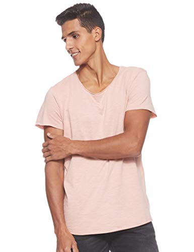 JACK & JONES Herren Jjebas Tee Ss U-Neck Noos T-Shirt, Rosa (Misty Rose Detail: Reg Fit), M