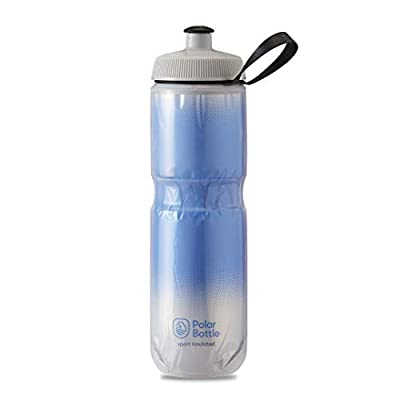 Polar Bottle Sport Insulated Water Bottle - BPA-Free, Sport & Bike Squeeze Bottle with Handle (Fade - Royal Blue & Silver, 24 oz)