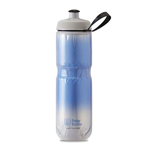 Polar Bottle Sport Insulated Water Bottle - BPA-Free, Sport & Bike Squeeze Bottle with Handle (Fade - Royal Blue & Silver, 24 oz), Model:INS24OZ03