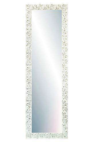 Chely Intermarket, Espejo de Pared Cuerpo Entero 35x140cm(47,50x152,50cm)/Blanco-Plateado/Mod-148, Ideal para peluquerías, salón, Comedor, Dormitorio y oficinas. Fabricado en España. Material Madera.