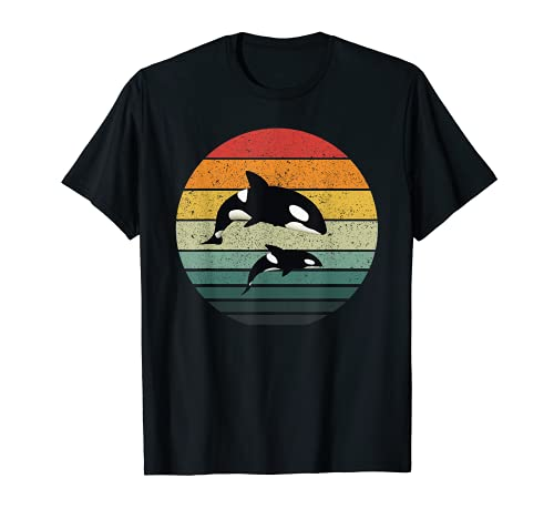 Orca Family Vintage Retro Art, Familia de ballenas asesinas Camiseta