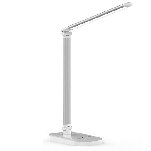 Lampe de Bureau Lampe LED Lampe de Table de Chargement USB Protection des Yeux sans Fil Fold Touch Console de Lecture for étudiant Lampe de Table (Color : Silver)