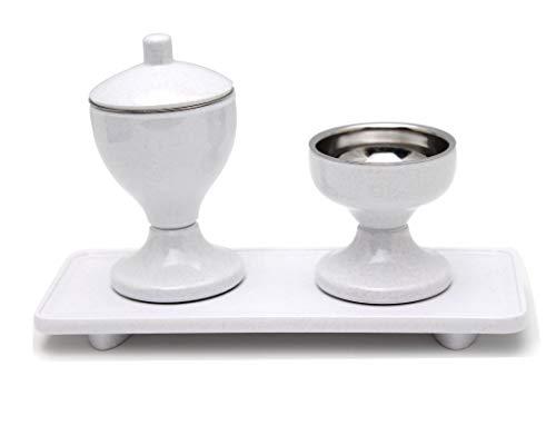 創価学会 水入れ ご飯入れ お盆 3点セット 白 ミニ仏壇 コンパクト仏壇に最適