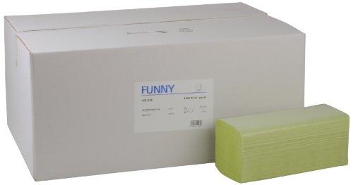 Funny Papierhandtuch, ZZ/V-Falz, 25 x 23 cm, 2lag, grün, 4000 Blatt, 1er Pack (1 x 1 Stück)
