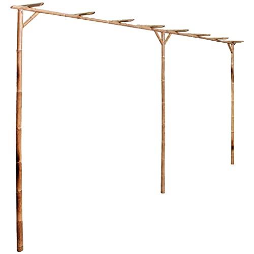 vidaXL Pergola für Kletterpflanze Gartenlaube Rosenbogen Rankhilfe Spalier Rankgerüst Torbogen Gartenpergola Blumenbogen Bambus 385x40x205cm
