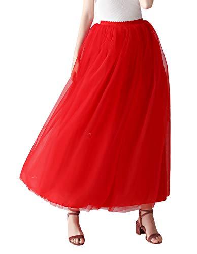 Aivtalk - Jupe Plissée Tutu Longue Femme Fille Mousseline Élégant 5 Couches Danse Soirée, Jupon Tulle Vintage Taille Élastique Dentelle Bal Fête - Rouge,Taille unique
