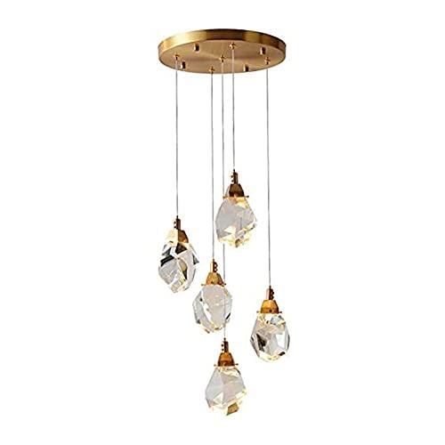 Worth having - Lampadari di cristallo Plafoniere, moderne goccioline di cristallo a spirale a spirale lampadario Chrome lampada a lampada a lampada a flusso con lampada for soggiorno camera da letto,