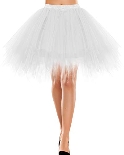 Rock lang Tüll Rockabilly weißes Kleid Kleidung Vintage Damen Retro 50s Petticoat Underskirt Kinder Retro Tutu Ballet Tüllrock Crinoline Cosplay Rock Rockabilly White L