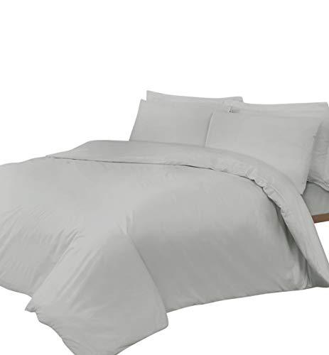 Linen Zone - Sábana de algodón egipcio, 400 hilos, algodón egípcio Lino algodón, Plateado, 2 King Size Oxford Pillow Cases