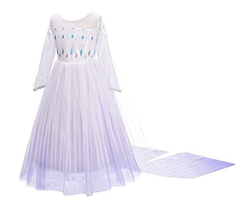 Lito Angels Vestidos de reina de las nieves 2 para niñas Disfraces Disfraz de princesa Elsa de fiesta Halloween cosplay con capa Talla 5-6 años Blanco 262