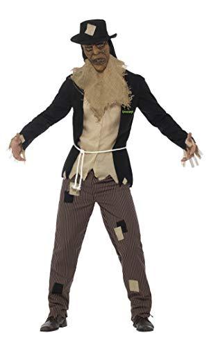 Halloween! Smiffys Goosebumps Das Vogelscheuchen Kostüm, Schwarz, mit Jacke & Mock Shirt, Hose, Seil, Maske & Hut